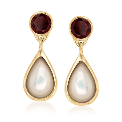 Mother-Of-Pearl and 4.00 ct. t.w. Garnet Drop Earrings in 18kt Yellow Gold Over Sterling Silver