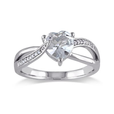 1.50 Carat Aquamarine Heart Ring with Diamond Accents in Sterling Silver