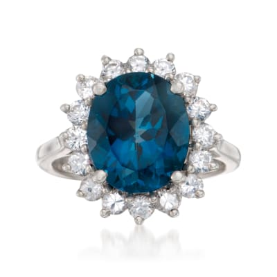 5.40 Carat London Blue Topaz and 1.10 ct. t.w. White Topaz Ring in Sterling Silver