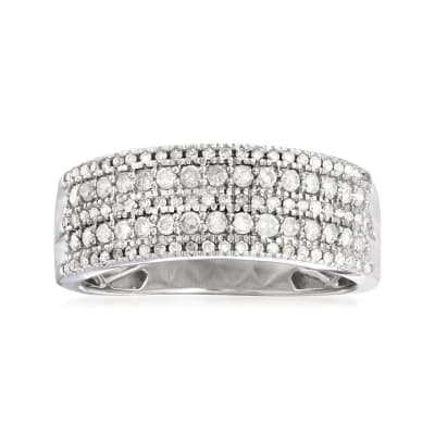 .50 ct. t.w. Diamond Five-Row Ring in Sterling Silver
