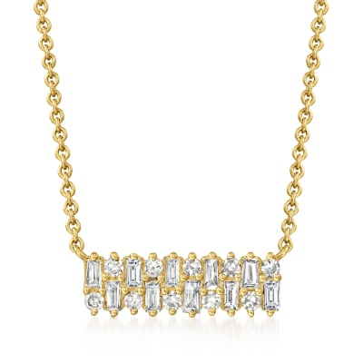.30 ct. t.w. Baguette and Round Diamond Necklace in 14kt Yellow Gold