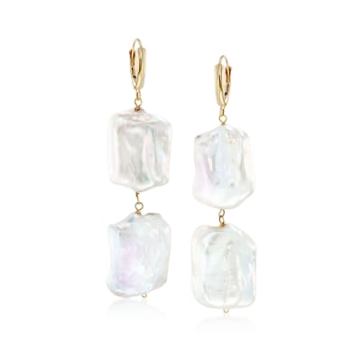 17-20mm Cultured Baroque Pearl Drop Earrings in 14kt Gold