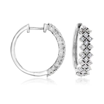 .10 ct. t.w. Diamond Hoop Earrings in Sterling Silver
