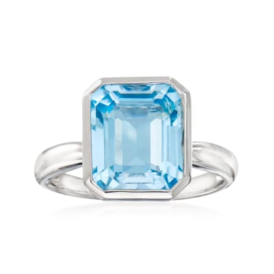 4.70 Carat Sky Blue Topaz Ring in Sterling Silver
