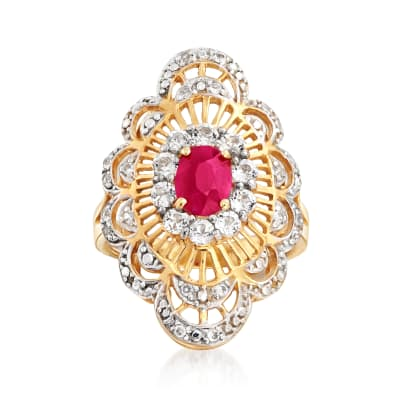 1.00 Carat Ruby and .90 ct. t.w. White Zircon Openwork Ring in 18kt Gold Over Sterling