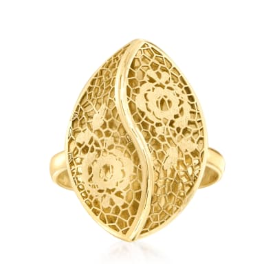 Italian 14kt Yellow Gold Floral Filigree Ring