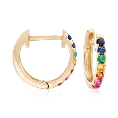 .28 ct. t.w. Multi-Gemstone Huggie Hoop Earrings in 14kt Yellow Gold
