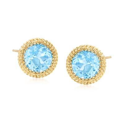 10.00 ct. t.w. Sky Blue Topaz Earrings in 14kt Yellow Gold