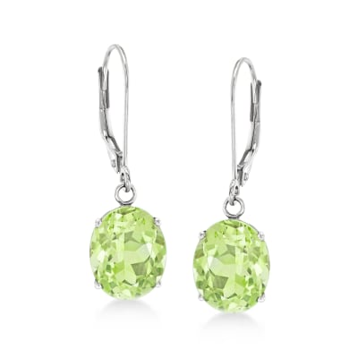 4.50 ct. t.w. Peridot Drop Earrings in 14kt White Gold