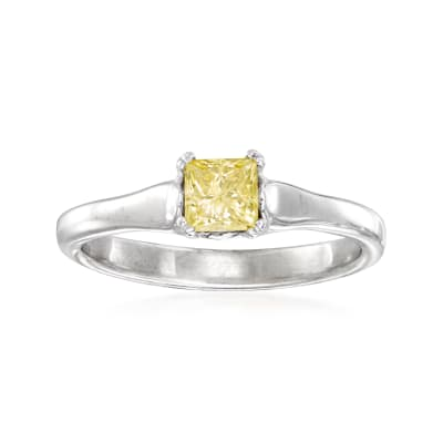 C. 2000 Vintage .50 Carat Yellow Diamond Ring in 14kt White Gold