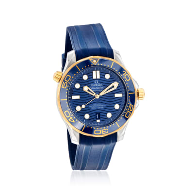 Omega Seamaster Diver Men's 42mm Automatic Stainless Steel and 18kt Yellow Gold Watch with Blue Rubber Strap