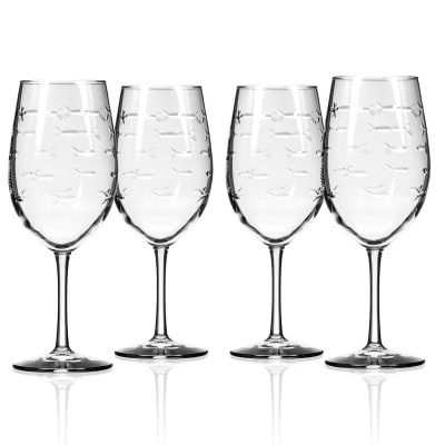 "Rolf Glass ""School of Fish"" Set of 4 White Wine Glasses"
