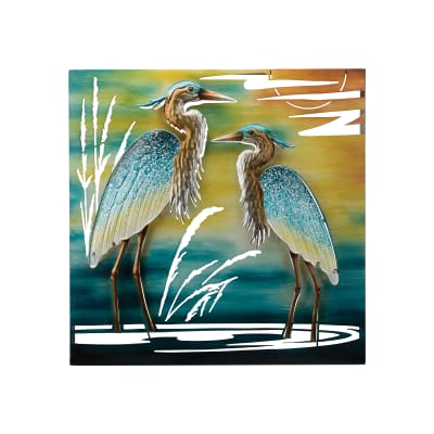 Regal Double Heron Multicolored Metal Outdoor Wall Decor