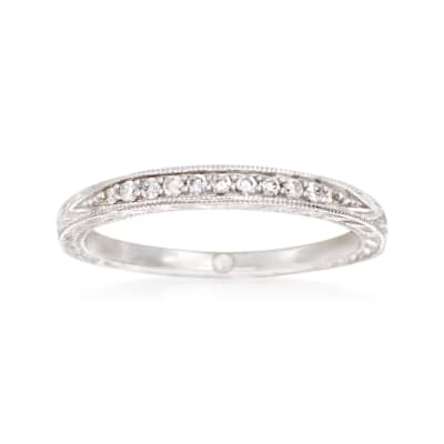 Gabriel Designs .10 ct. t.w. Diamond Wedding Band in 14kt White Gold