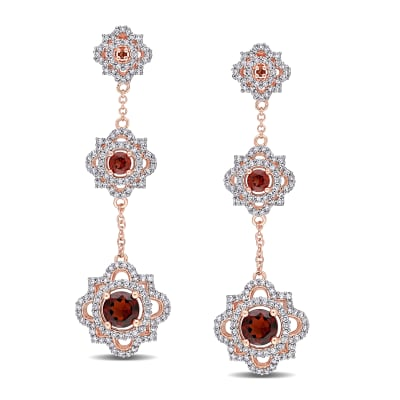 1.50 ct. t.w. Garnet and .87 ct. t.w. Diamond Quatrefoil Triple-Drop Earrings in 14kt Rose Gold