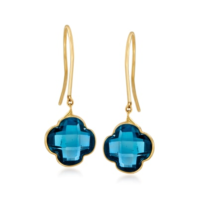 Italian 3.60 ct. t.w. London Blue Topaz Clover Drop Earrings in 14kt Yellow Gold