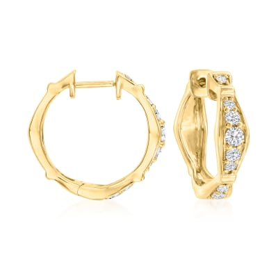 .51 ct. t.w. Diamond Hoop Earrings in 18kt Gold Over Sterling