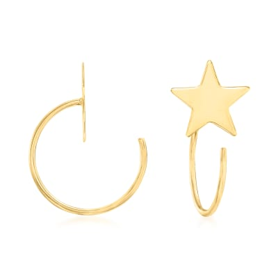14kt Yellow Gold Star Hoop Earrings