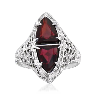 C. 1990 Vintage 1.60 ct. t.w. Garnet Filigree Ring in 14kt White Gold