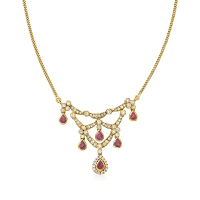 C. 1980 Vintage 2.10 ct. t.w. Ruby and 1.85 ct. t.w. Diamond Bib Necklace in 18kt Yellow Gold