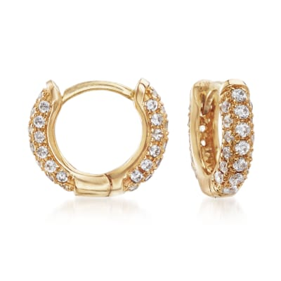 .50 ct. t.w. CZ Huggie Hoop Earrings in 14kt Yellow Gold