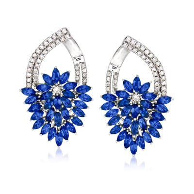 5.00 ct. t.w. Sapphire and .65 ct. t.w. Diamond Floral Drop Earrings in 14kt White Gold