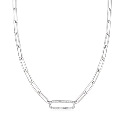 .40 ct. t.w. CZ Paper Clip Link Necklace in Sterling Silver