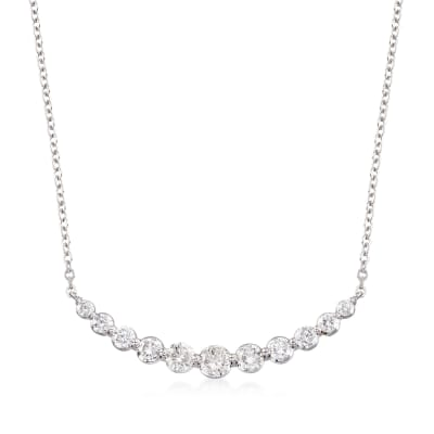 1.00 ct. t.w. Graduated Diamond Necklace in 14kt White Gold