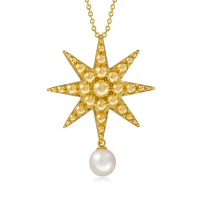 8.5-9mm Cultured Freshwater Pearl Starburst Pendant Necklace in 18kt Gold Over Sterling