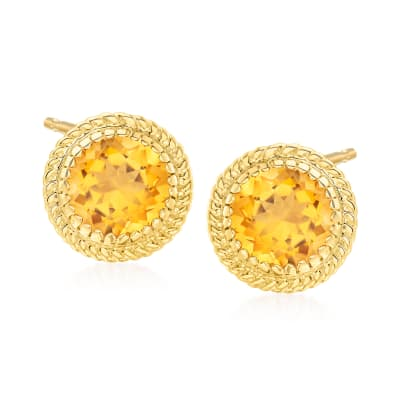 6.50 ct. t.w. Citrine Roped Halo Earrings in 14kt Yellow Gold