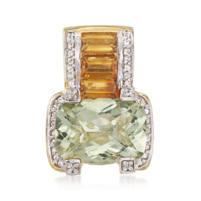 6.00 Carat Prasiolite and 1.60 ct. t.w. Citrine Pendant with .10 ct. t.w. White Zircons in 18kt Gold Over Sterling