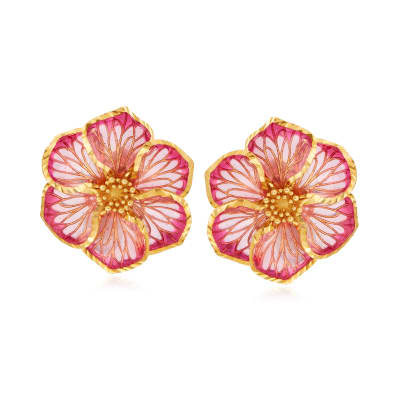 Italian Pink Enamel Flower Earrings in 18kt Gold Over Sterling
