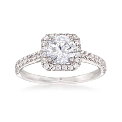 Gabriel Designs .45 ct. t.w. Diamond Square Halo Engagement Ring Setting in 14kt White Gold