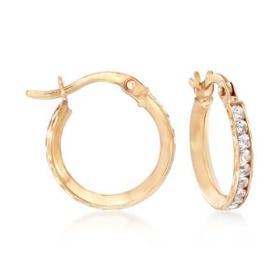 1.00 ct. t.w. CZ Huggie Hoop Earrings in 14kt Yellow Gold