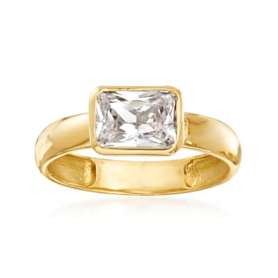 1.70 Carat CZ Ring in 14kt Yellow Gold