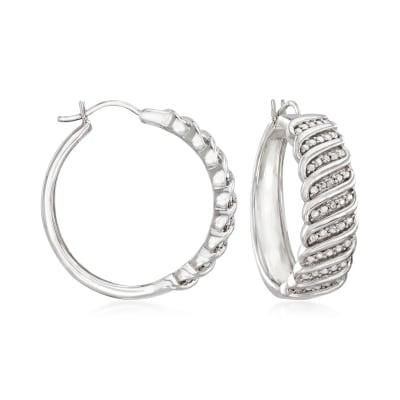 Diamond-Accented Hoop Earrings in Sterling Silver
