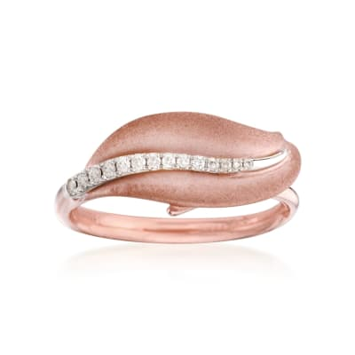 Diamond-Accented Leaf Ring in 18kt Rose Gold
