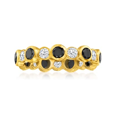 2.00 ct. t.w. Black and White Diamond Eternity Band in 14kt Yellow Gold