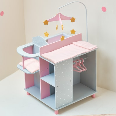 """Child's """"Polka Dots Princess"""" Baby Doll Changing Station with Storage"""