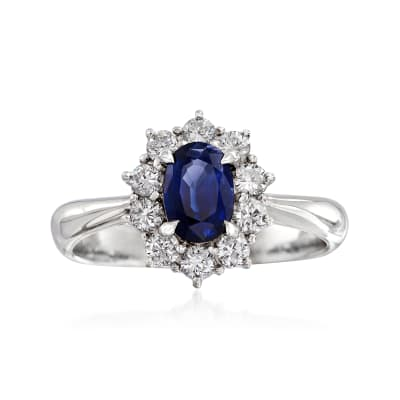 C. 2000 Vintage .77 Carat Sapphire and .43 ct. t.w. Diamond Ring in Platinum