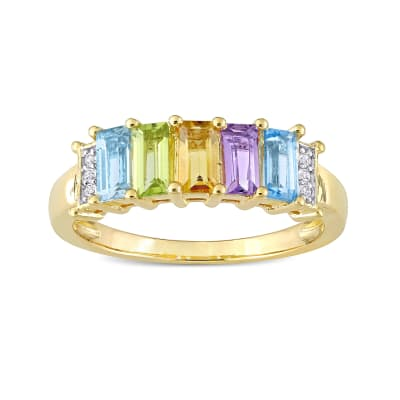 1.13 ct. t.w. Multi-Gemstone Ring in 18kt Gold Over Sterling