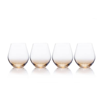 "Mikasa ""Gianna"" Set of 4 Ombre Amber Stemless Glasses"