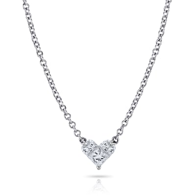 .72 ct. t.w. Diamond Heart Pendant Necklace in 18kt White Gold