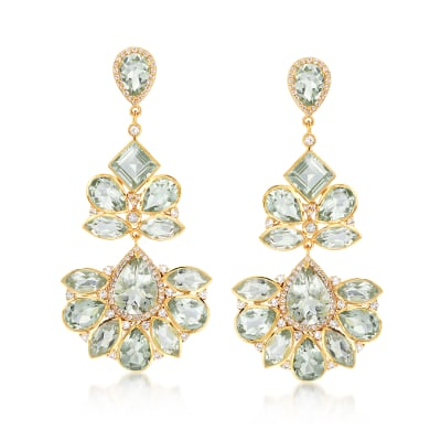 45.25 ct. t.w. Prasiolite and 3.10 ct. t.w. White Topaz Chandelier Earrings in 18kt Gold Over Sterling