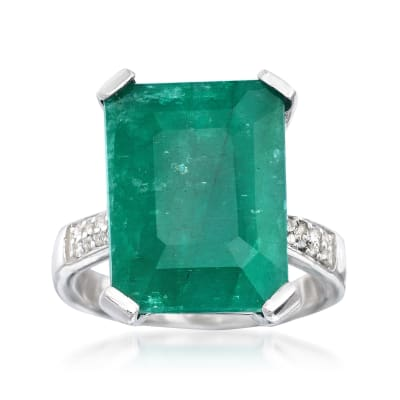 Green Beryl and .13 ct. t.w. White Topaz Ring in Sterling Silver