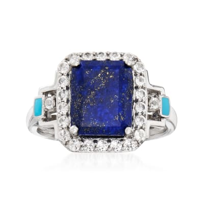 Lapis and .60 ct. t.w. White Topaz Ring with Turquoise Enamel in Sterling Silver