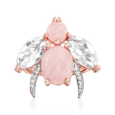 5.50 ct. t.w. Morganite and Rock Crystal Bug Ring with White Topaz Accents in 18kt Rose Gold Over Sterling