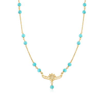 4-4.5mm Turquoise Lotus Station Necklace in 18kt Gold Over Sterling
