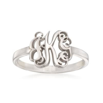 Sterling Silver Script Monogram Ring