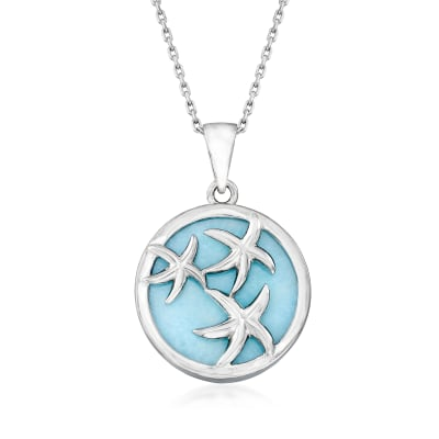 Larimar Starfish Pendant Necklace in Sterling Silver
